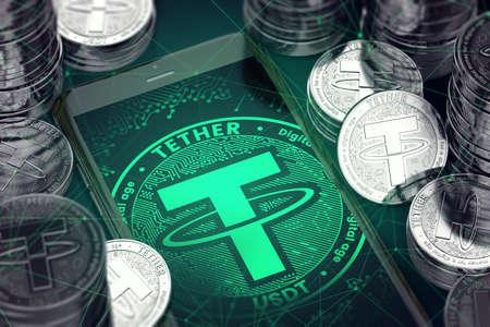 Tether 동전 중 녹색 떼 기호로 스마트 폰. 테 더 개념 동전 및 가상 지갑입니다. 3D 렌더링 스톡 콘텐츠 - 91818173