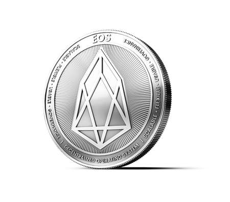Silver EOS coin isolated on white background. Concept coin. 3D rendering Stock Photo