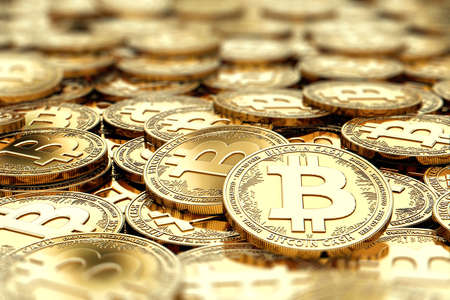 Stack of golden Bitcoin Cash BCC coins in blurry closeup with copy space above in blurred area. 3D rendering