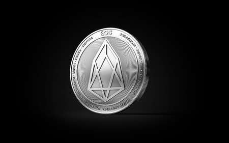Silver EOS cryptocurrency physical concept coin isolated on black background. 3D rendering Imagens - 91791180
