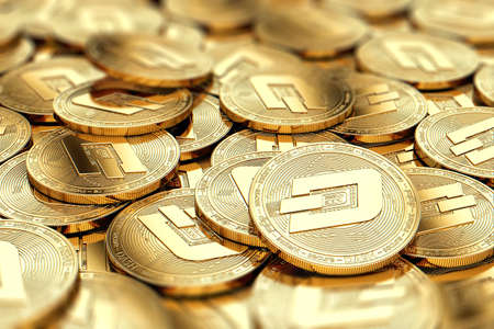 Stack of golden Dash coins in blurry closeup with copy space above in blurred area. 3D rendering
