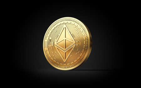 Gouden Ethereum ETH cryptocurrency-muntstuk dat op zwarte achtergrond wordt geïsoleerd. 3D-weergave Stockfoto