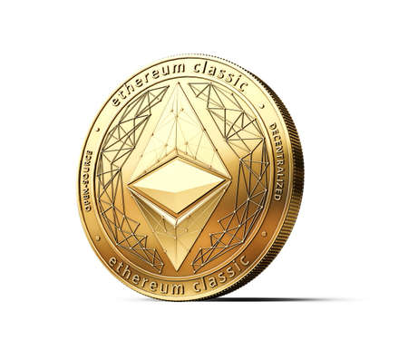 Golden Ethereum Classic ETC cryptocurrency physical concept coin isolated on white background. 3D rendering
