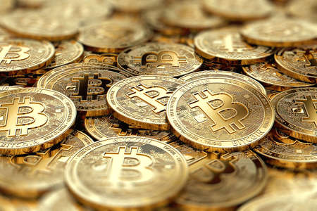 Stack of golden Bitcoin BTC coins in blurry closeup with copy space above in blurred area. 3D rendering