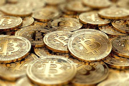 pile de pièces de monnaie d & # 39 ; or btc btc en gros plan avec espace copie photographié dans la vue floue . rendu 3d