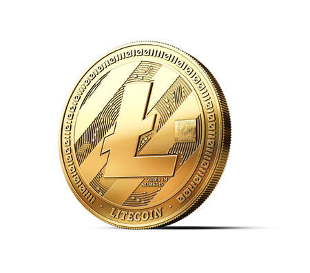 Golden Litecoin LTC cryptocurrency physical concept coin isolated on white background. 3D rendering Standard-Bild