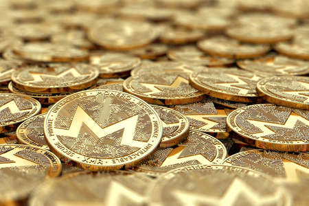 Stack of golden Monero coins in blurry closeup with copy space above in blurred area. 3D rendering