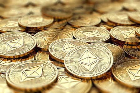 Stack of golden Ethereum ETH coins in blurry closeup with copy space above in blurred area. 3D rendering