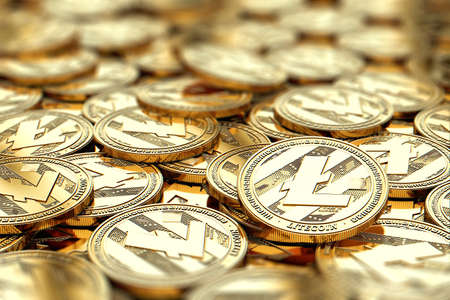 Stack of golden Litecoin coins in blurry closeup with copy space above in blurred area. 3D rendering Standard-Bild
