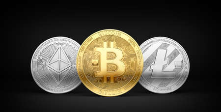 Bitcoin, Litecoin and Ethereum - three most popular cryptocurrencies isolated on black background. 3D rendering