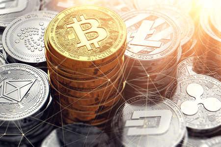 Golden Bitcoin pile et autres crypto-monnaies entourées de noeuds blockchain. Rendu 3D