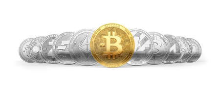Set of 11 different cryptocurrencies and a golden bitcoin on the front isolated on white background. 3D rendering