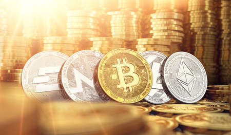 Bitcoin and Dash, Ripple, Monero, Litecoin in blurry closeup against piles of golden coins. Cryptocurrency meaning on market growth concept. 3D rendering Foto de archivo