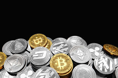 Stack and piles of Bitcoin and other different cryptocurrencies isolated on black background with copy space above. 3D rendering Reklamní fotografie - 91965728