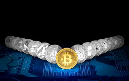 Golden Bitcoin on the front and 14 other cryptocurrencies standing on blue motherboard. Bitcoin as the leader having the highest value concept. 3D rendering