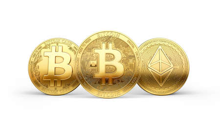 Three golden crypto coins: Bitcoin, Litecoin and Ethereum most popular cryptocurrencies isolated on white background. 3D rendering