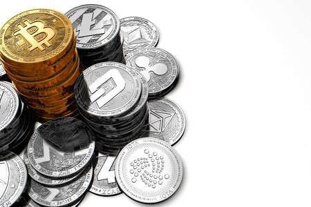 Big pile of Bitcoin and smaller piles of different cryptocurrencies isolated on white background. 3D rendering Zdjęcie Seryjne - 91965734