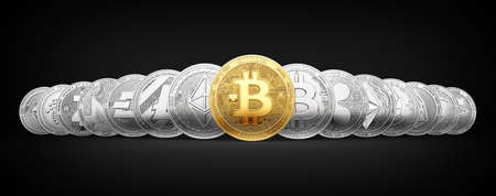 Set of 15 different cryptocurrencies with a golden bitcoin on the front isolated on black background. 3D rendering