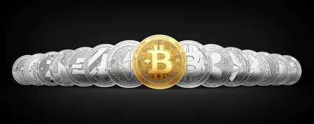 Satz von 15 verschiedenen Kryptowährungen mit einem goldenen Bitcoin auf der Frontseite lokalisiert auf schwarzem Hintergrund. 3D-Rendering