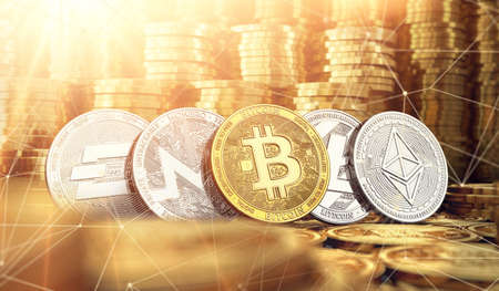 Bitcoin, Dash, Ripple, Monero, Litecoin and blockchain nodes in blurry closeup against lots of golden coin piles. Cryptocurrency meaning on global market growth concept. 3D rendering Standard-Bild