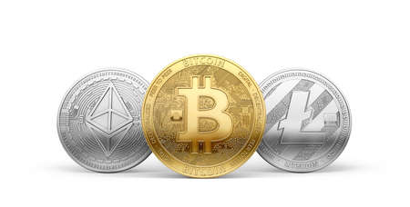 Bitcoin, Litecoin and Ethereum - three most popular cryptocurrencies isolated on white background. 3D rendering