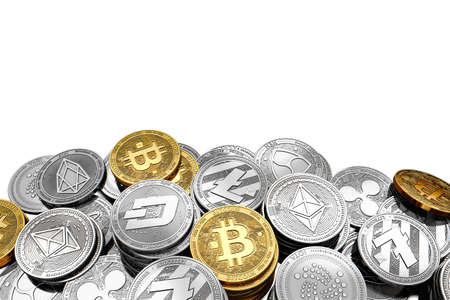 Stack and piles of Bitcoin and other different cryptocurrencies isolated on white background with copy space above. 3D rendering Banco de Imagens