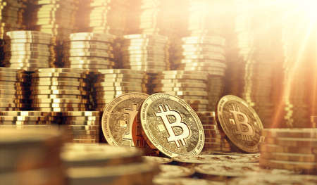 Golden Bitcoin coins in blurry closeup with copy space above. Bitcoin rules the market concept. 3D rendering Standard-Bild