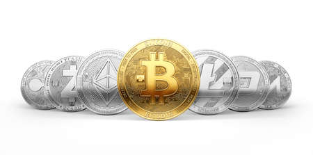 Set of 7 different cryptocurrencies and a golden bitcoin on the front isolated on white background. 3D rendering
