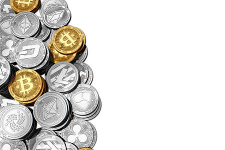 Stack of Bitcoin and other cryptocurrencies isolated on white background with copy space on the right side. 3D rendering Stock Photo