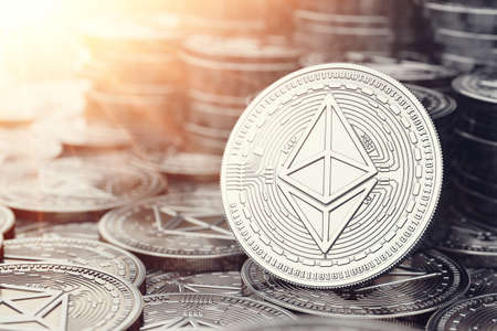 Silver Ethereum coin in close up shot. Bright sun flare as sign of prosperity. 3D rendering