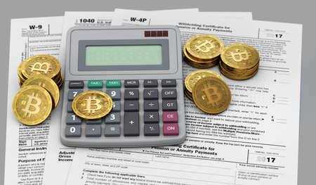 Bitcoin, 계산기 및 세금 계산서. cryptocurrency 투자자 개념에 대한 회계 서비스. 3D 렌더링