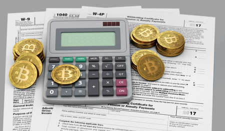 Bitcoin, calculator and tax statements. Accounting services for cryptocurrency investors concept. 3D rendering Archivio Fotografico