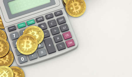 Calculator and stack or pile of Bitcoins. Bitcoin tax calculation concept. 3D rendering 写真素材