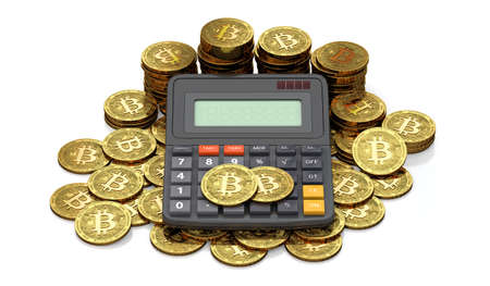 Calculator and huge stack or pile of Bitcoin coins. Tax calculation concept. Copy space available in calculator screen. 3D rendering