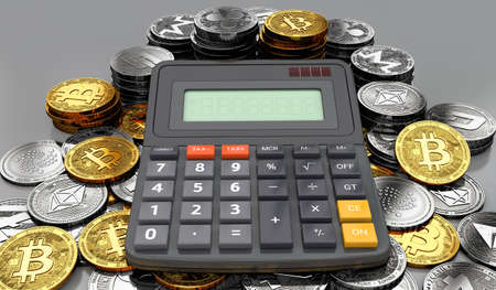 Huge stack or pile of cryptocurrency coins and a calculator. Tax calculation concept. 3D rendering