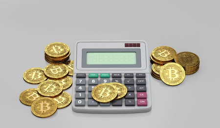 Bitcoins and calculator. Calculation of profits from Bitcoin investment concept. 3D rendering