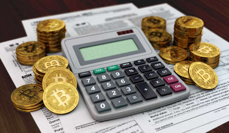 Calculator, documents and piles od Bitcoins. Accounting services for cryptocurrency investors concept. 3D rendering 写真素材