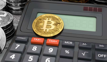 Calculator and bitcoins - cryptocurrency profit income tax concept. 3D rendering