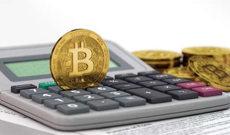 Bitcoin standing on calculator keyboard. Income tax from cryprocurrency gains concept. 3D rendering 写真素材