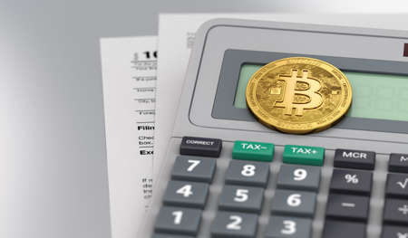 Calculator with documents and Bitcoin on table. Accounting cryptocurrencies concept. 3D rendering 写真素材