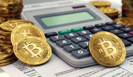 Bitcoin coins against calculator and tax forms. Tax preparation from profits from cryptocurrencies. 3D rendering 写真素材