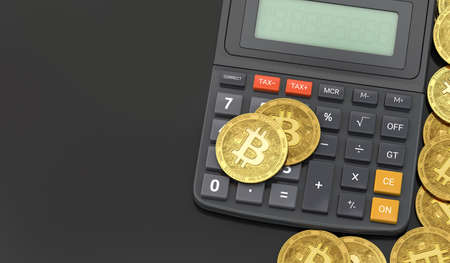 Calculator and Bitcoin coins. Cryptocurrency profits calculations concept. 3D rendering