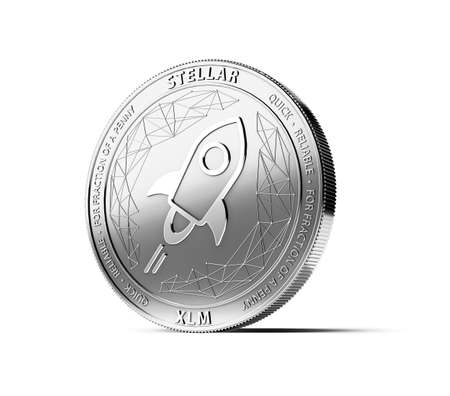 Silver STELLAR (XLM) coin isolated on white background. Concept coin. 3D rendering
