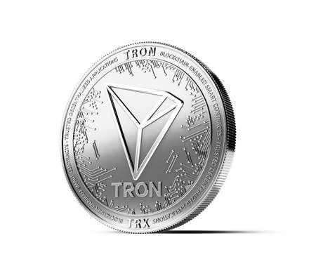 Silver TRON coin isolated on white background. Concept coin. 3D rendering