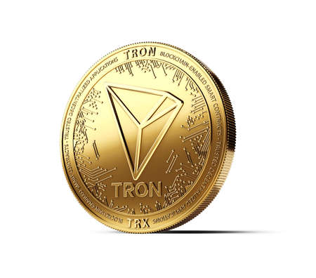 Golden TRON cryptocurrency physical concept coin isolated on white background. 3D rendering
