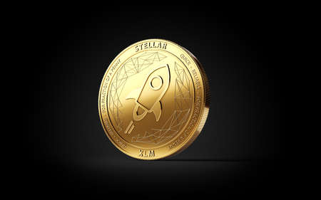 Golden STELLAR (XLM) cryptocurrency concept coin isolated on black background. 3D rendering