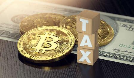 Houten blokken met BELASTINGbrieven en stapel Bitcoin-munten en dollarrekening. Belastingen op bitcoin investeringen concept. 3D-weergave Stockfoto - 95445574