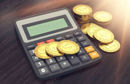 Different golden coins (dollar, pound, euro, franc) and the calculator with empty display to put your own text. Taxes and fees concept. 3D rendering