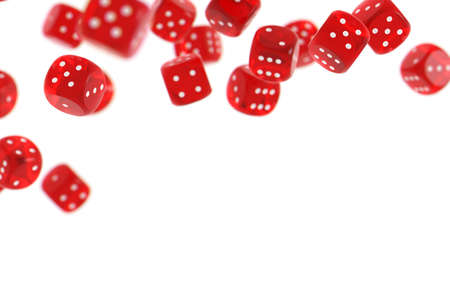Red game dices isolated on white background and copy space below Stock Photo