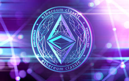 Neon glowing Ethereum Classic (ETC) coin in Ultra Violet colors with cryptocurrency blockchain nodes in blurry background. 3D rendering 写真素材